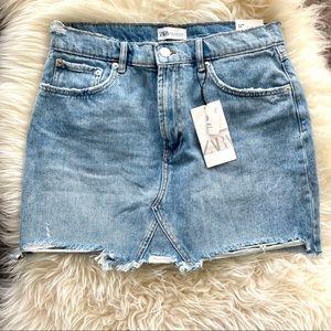 NWT Zara women's high rise blue denim Jean mini skirt XL